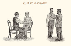 Chest massage, vintage illustration Stock Photography