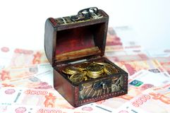 Chest with money Stock Image