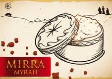 Chest with Myrrh in a Bethlehem Scene for Epiphany, Vector Illustration. Poster with hand drawn design of myrrh powder -or `mirra`, written in Spanish- offering royalty free illustration