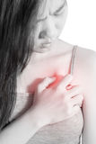 Chest pain or asthma in a woman isolated on white background. Clipping path on white background. Royalty Free Stock Photos