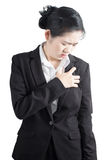 Chest pain or asthma in a woman isolated on white background. Clipping path on white background. Royalty Free Stock Photography