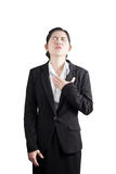 Chest pain or asthma in a woman isolated on white background. Clipping path on white background. Stock Images