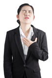 Chest pain or asthma in a woman isolated on white background. Clipping path on white background. Stock Photos