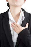 Chest pain or asthma in a woman isolated on white background. Clipping path on white background. Stock Photo