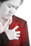 Chest pain or asthma in a woman isolated on white background. Clipping path on white background. Chest pain or asthma in a woman isolated on white background Royalty Free Stock Photography