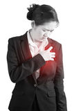 Chest pain or asthma in a woman isolated on white background. Clipping path on white background. Chest pain or asthma in a woman isolated on white background Stock Images