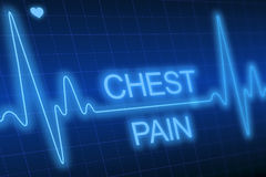 Chest pain - written on blue heart rate monitor Royalty Free Stock Photography