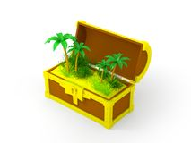 Chest with palms Royalty Free Stock Photo
