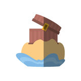 chest pirate wooden golden treasure sand shadow Royalty Free Stock Images