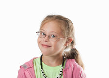 Chest portrait white girl with blond hair wearing glasses Stock Photography