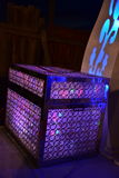 Chest of purple lights on stage for a wedding. Middle East- Arara in the Negev, Israel. May 11, Wedding - Hina, Beersheba, Negev, Israel,  2016 Stock Photo