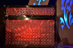 Chest with red lighting and patterns on stage for the wedding. Middle East- Arara in the Negev, Israel. May 11, Wedding - Hina, Beersheba, Negev, Israel,  2016 Stock Photography