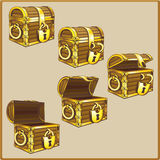 Chest set for game interface. Antique chest vector illustration on background Stock Illustration