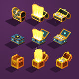 Chest Set for Game Resource. Vector Illustration Stock Image