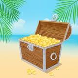 Chest. Treasure chest on the beach. Eps 10 stock illustration