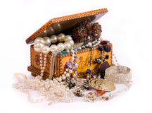 Chest and treasures and beads Royalty Free Stock Photos