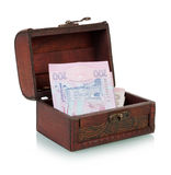 Chest with Ukrainian banknotes Stock Photos
