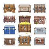 Chest vector treasure box with gold money wealth or wooden pirate chests with golden coins illustration set of closed. Wooden container isolated on white royalty free illustration
