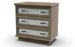 Simple chest of drawers for three drawers. Chest, which has three drawers with MDF overlays on the facades of the boxes along the perimeter of the lid and the Stock Photo