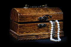 Chest With Treasures On Black Royalty Free Stock Photos