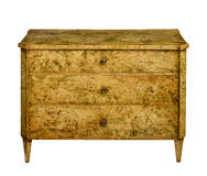 Chest of wooded drawers isolated on white Stock Image
