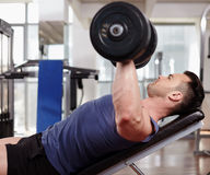 Chest workout on bench press Royalty Free Stock Photo