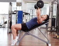 Chest workout on bench press Royalty Free Stock Photography