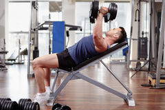 Chest workout on bench press Royalty Free Stock Photos