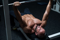 Chest Workout On Bench Press Royalty Free Stock Images