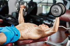 Chest workout at bench press Royalty Free Stock Image