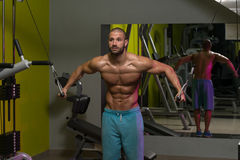 Chest Workout Cable Crossover. Young Bodybuilder Is Working On His Chest With Cable Crossover In A Dark Gym stock images