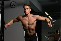 Chest Workout Cable Crossover. Young Bodybuilder Is Working On His Chest With Cable Crossover In A Dark Gym royalty free stock photo