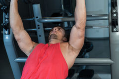 Chest Workout On An Exercise Bench Royalty Free Stock Photo