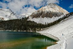 Chester湖在彼得Lougheed省公园,在Canmore附近, AB,加拿大 免版税库存照片