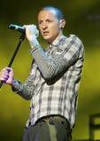 Chester Bennington with Linkin Park stock photo