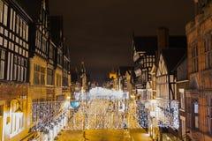 Chester bij nacht royalty-vrije stock afbeeldingen