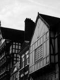 Chester budynków Cheshire tudor szczegół czarny i biały Zdjęcie Royalty Free