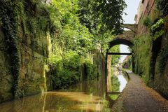 Chester Canal. Chester. England. The Chester Canal links the south Cheshire town of Nantwich with the River Dee at Chester. England stock photos