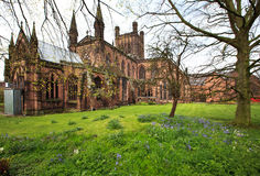 Chester Cathedral Cheshire England UK in spring. Chester Cathedral Cheshire England UK is one of the most visited place in Chester by tourists from many stock image