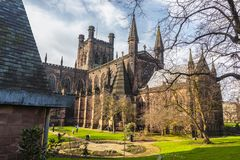 Chester Cathedral Church Of Christ en Heilige Maagdelijke Mary stock afbeelding