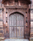 Chester Cathedral Door. Ancient Chester cathedral oak doorway royalty free stock photography