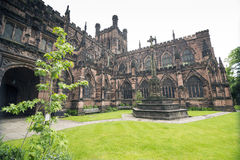 Chester Cathedral. Exterior Chester Cathedral on a rainy day stock photos