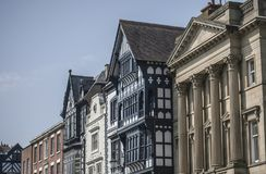 Chester, Cheshire, England - the streets on a sunny day. This image shows some buildings in Chester, England. It was taken on a bright, sunny day in April 2018 royalty free stock images