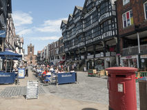 Chester Cheshire UK. The town centre with church in Bridge Street, Chester Cheshire UK Stock Image