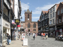 Chester Cheshire UK. The town centre with church in Bridge Street, Chester Cheshire UK Royalty Free Stock Photo