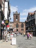Chester Cheshire UK. The town centre with church in Bridge Street, Chester Cheshire UK Royalty Free Stock Photography