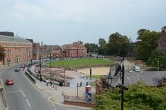 Chester city centre Amphitheatre. View from chester city walls of the Grade 1 listed building, Amphitheatre, in the county of Cheshire Stock Photography