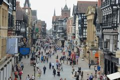 Chester city centre. Main shopping area of Chester city centre, photograph taken form the Roman walls Royalty Free Stock Photos