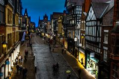 Chester city street at dusk royalty free stock photography
