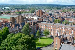 Chester city, Uk. View of Chester city skyline taken from the roof top tower of Chester cathedral, England, UK Stock Photos
